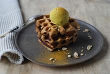 Close Up Of Waffle With Banana...