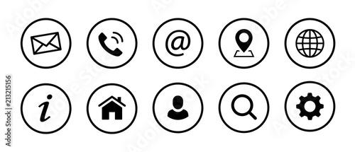 Leinwand Poster Web Kontakt Symbole