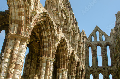 View of Whitby Abbey ruins showing details of stonework Canvas Print