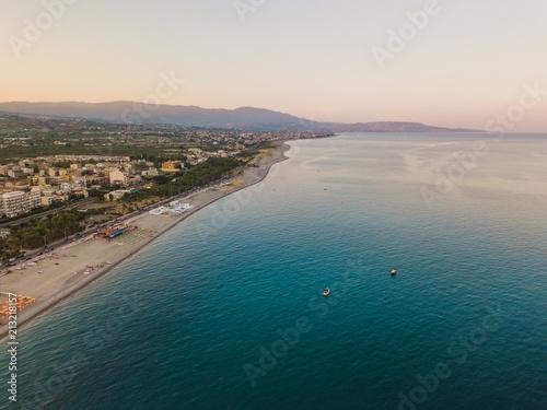 Costa di Locri in provincia di Reggio Calabria vista aerea al tramonto.