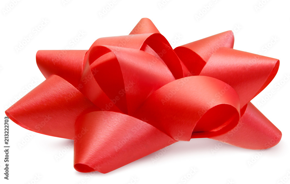 Fototapeta Red lush bow side view isolated with path