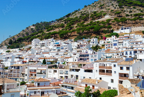 Fototapeta View of Mijas - typical white town in Andalusia, southern Spain, provence Malaga, Costa del Sol