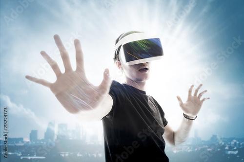 Réalité virtuelle 3D casque sensation jeu informatique rêve gamer avenir logicie Tapéta, Fotótapéta