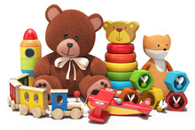 3d Rendering Of Toys On White Background