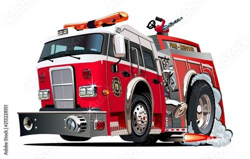 Vector cartoon firetruck Wallpaper Mural