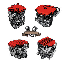 Painted Engine On A White Background. A Set Of Engines From Different Manufacturers. V8 Internal Charge Engine. Engine From Different Sides. Piston Engine System. A Drawn Style. Vector Illustration