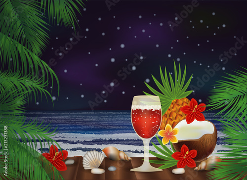 Night tropical background with cocktail , vector illustration