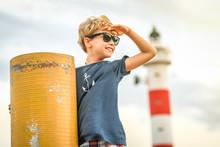 Boy With Sun Glasses Enjoying ...