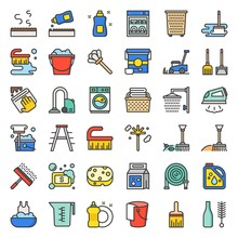 Household Cleaning And Laundry Service And Equipment Filled Outline Icon Set