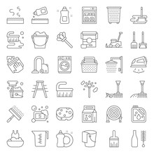 Cleaning And Laundry Service And Equipment Outline Icon Set