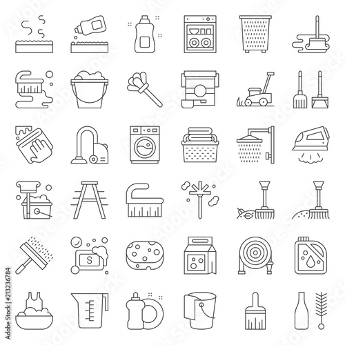 Cleaning and laundry service and equipment outline icon set Wallpaper Mural