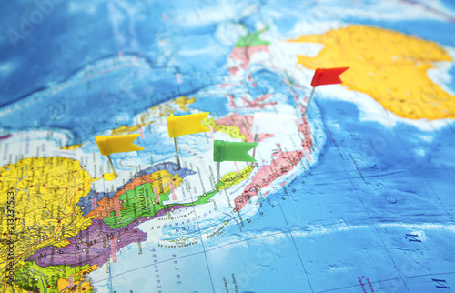World map with flags where to go on a trip - Buy this stock ...