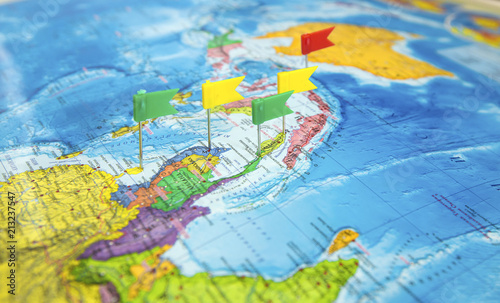 World map with flags where to go on a trip - Buy this stock photo ...