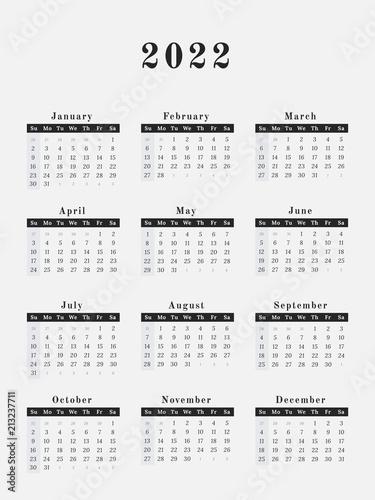 2022 Year Calendar vertical design Plakat