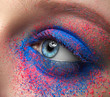 Macro and close-up creative make-up theme: beautiful female eyes with dry pink and blue pigment