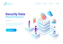 Security Data Protection Isometric Flat Vector Illustration