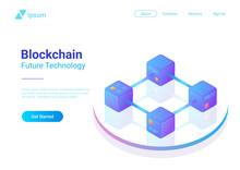 Blockchain Technology Isometric Vector. Block Chain Structure
