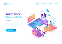Isometric Flat Vector Management Teamwork People Puzzle Parts