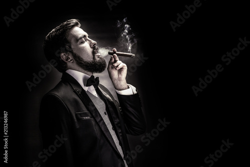 Fotografie, Obraz  smoking gentleman portrait