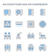 Air conditioner icon i.e. air compressor, condenser unit, ventilation, duct, cooling tower and chiller. That is a part of HVAC system to remove heat and moisture, temperature and humidity control.