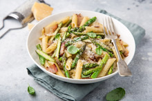 Asparagus And Bacon Penne Pasta With Parmesan Cheese In White Bowl