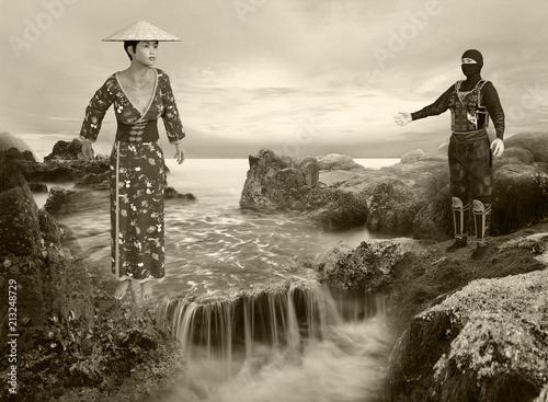3D Illustration of Sepia Tone Sunrise Waterfall Scene Poster