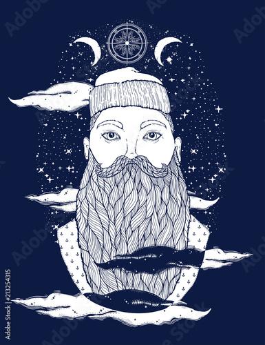 Fotografie, Obraz  Hand Drawn vintage hipster sailor beard portrait