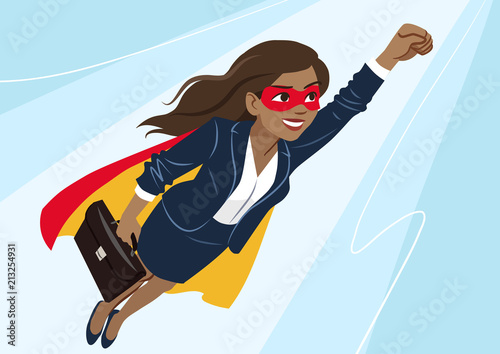 Cuadros en Lienzo Young African-American superhero woman wearing business suit and cape, flying through air in superhero pose, on aqua background