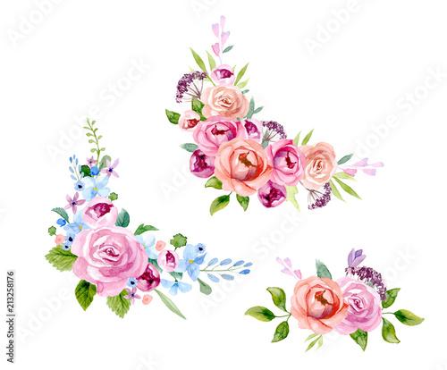 Fototapety, obrazy: Set of the floral arrangements