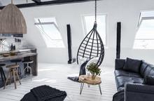 Modern Open-plan Apartment In Attic, Loft Style, 3d Render