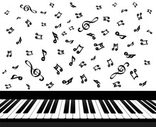 Piano Keys And Music Notes On White, Stock Vector Illustration