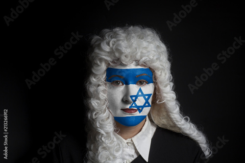 Photo  Portrait of female jewish lawyer with painted Israel flag