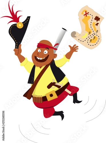 Recess Fitting Wild West Happy pirate jumping and throwing a treasure map in the air, EPS 8 vector illustration