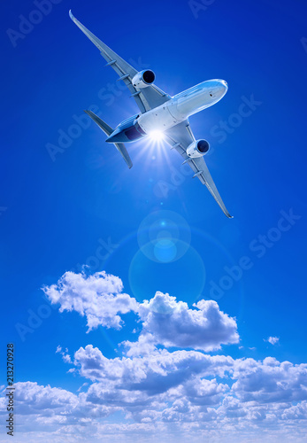 Poster Avion à Moteur airplane against a blue sky