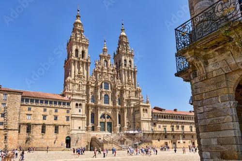 Leinwand Poster Santiago de Compostela cathedral in Obradoiro square.