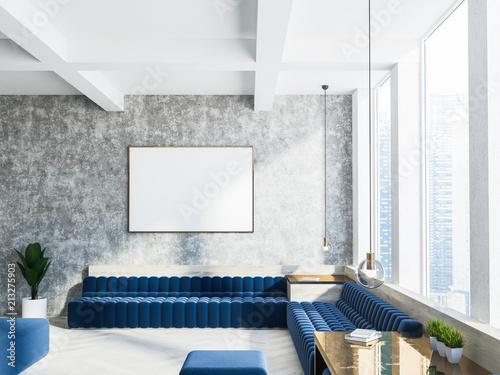 Deurstickers Wanddecoratie met eigen foto Concrete living room interior, blue sofa, poster