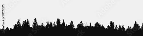 Foto auf Gartenposter Schwarz View to panorama of realistic forest silhouette.Vector nature design