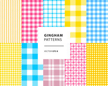 Gingham Seamless Patterns Set