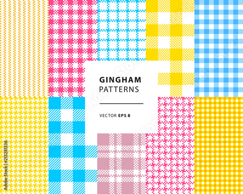 Photo  Gingham seamless patterns set