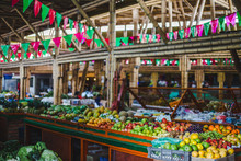Colorful Food Market With Red ...