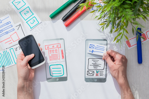 Papiers peints Singapoure Designer drawing website ux app development.