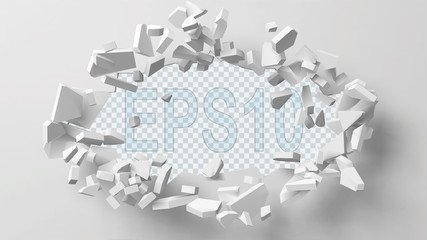 vector illustration of exploding wall with free area on center for any object or background