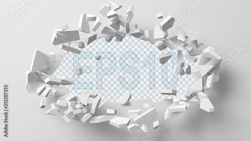 Fotomural  vector illustration of exploding wall with free area on center for any object or