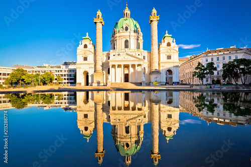 fototapeta na lodówkę Karlskirche church of Vienna reflection view