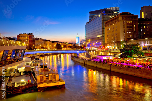 obraz lub plakat Vienna city modern riverfront evening view