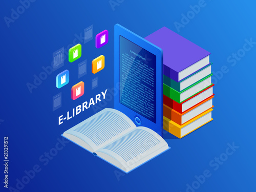 Online Learn or E-book library   Laptop computer with library books