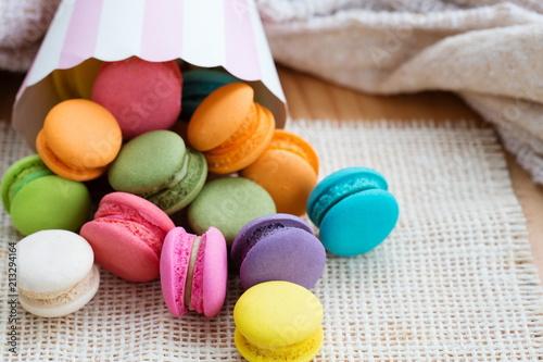 Spoed Foto op Canvas Macarons Various flavoured Macarons or Macaroon.