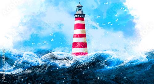 latarnia-morska-na-tle-blekitnego-nieba-kamieni-fal-i-swiatla-slonecznego