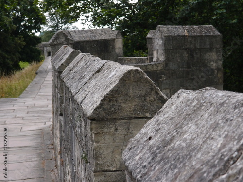 The historic fortified York Wall made of carved stone Poster
