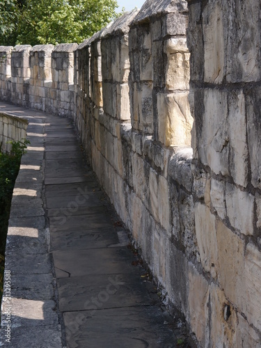 Plagát  The historic fortified York Wall made of carved stone